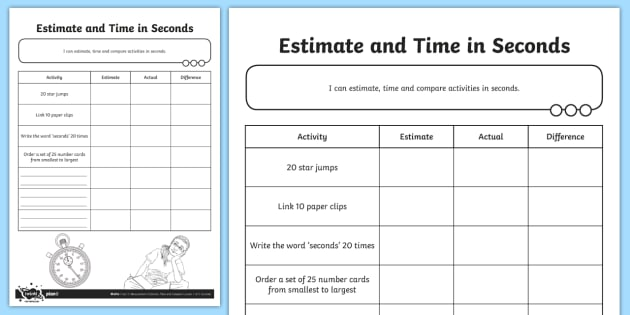 estimate and time in seconds worksheet activity sheet