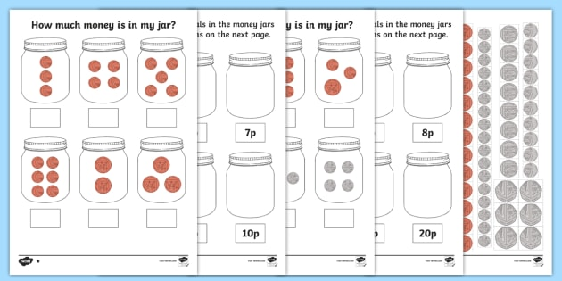 how much money is in my jar british money differentiated worksheet. Black Bedroom Furniture Sets. Home Design Ideas