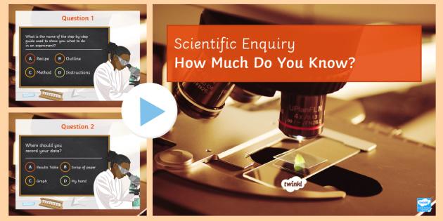 Scientific Enquiry Quiz  - PowerPoint Quiz, Scientific Enquiry, Method, Results, Evaluation, Conclusion, Graphs