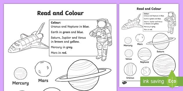 Planet Read And Color Worksheet / Worksheet- Space, Planets, Worksheet /