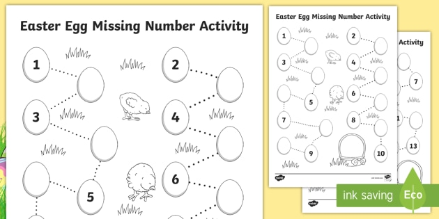 NEW * Easter Egg Missing Number Worksheets - EYFS Easter, Christian