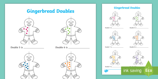 new gingerbread man doubles to 20 activity sheet. Black Bedroom Furniture Sets. Home Design Ideas
