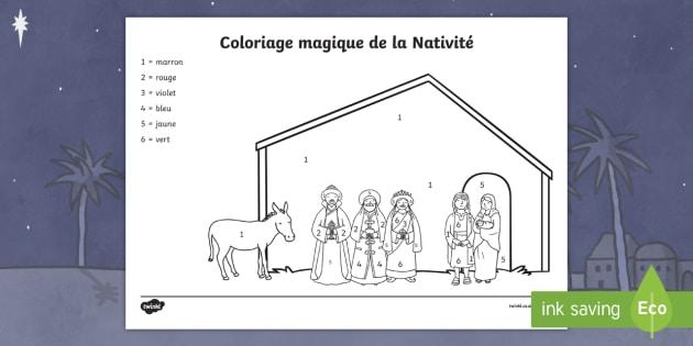 Coloriage magique : La Nativité   Noël, Christmas, coloriage magique