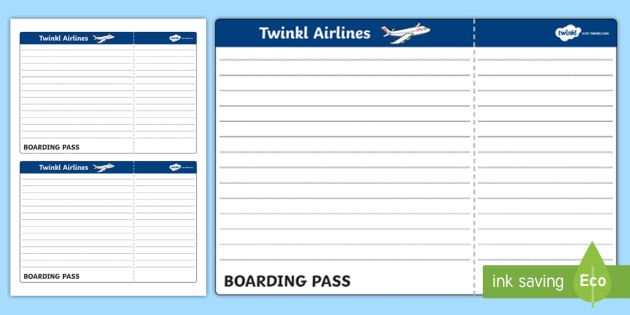 Blank Plane Ticket Template  Plane Ticket Template Writing