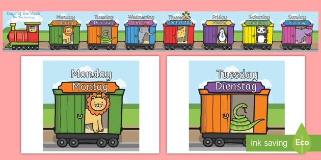 Die Tage der Woche on an A4 Train German - german, days of the week, days, week, a4, train, display