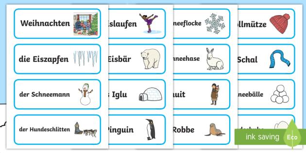 Winter Wortkarten Topic Word Cards German - german, winter, topic, word cards, word, card