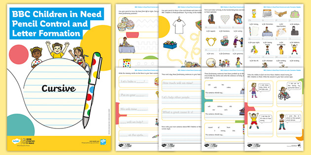 BBC Children in Need Pencil Control and Letter Formation Cursive Handwriting Activity Booklet