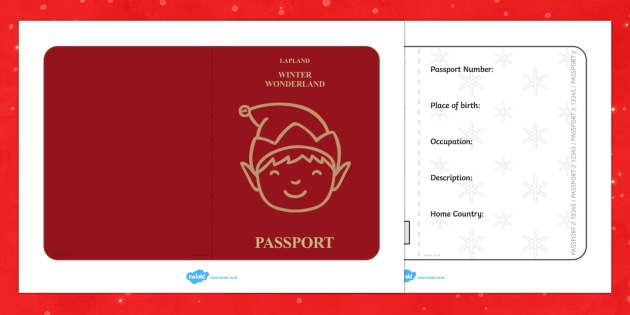 Elf Passport Writing Frame - christmas, elf, passport, writing