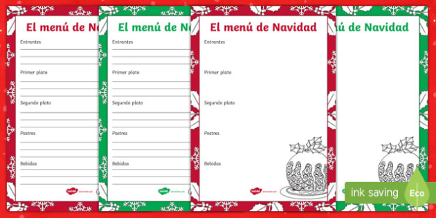 christmas menu template worksheet activity sheet spanish