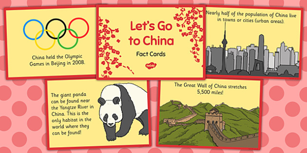 Let's Go to China Fact Cards - lets go, china, fact cards, country