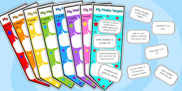 Maths Assessment Bookmarks and Target Cut-Outs - maths assessment, maths, bookmarks, stickers, assessment stickers, assessment bookmarks, numeracy