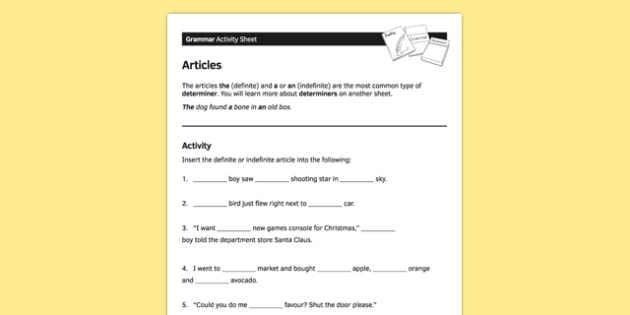 KS3 English Curriculum Activity Sheet Articles - ks3, articles, english, curriculum, activity sheet, activity, worksheet