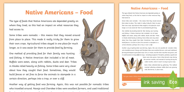 Native Americans Food Information Sheet-Scottish - Native Americans, diet, food, history,Scottish