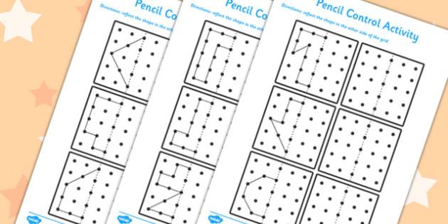 Pencil Control Reflection Sheets - pencil control, reflection, sheets