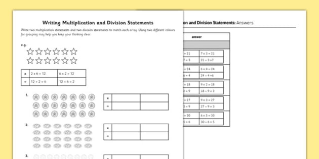 Writing Multiplication and Division Statements Activity Sheet - grouping, array, using signs, worksheet