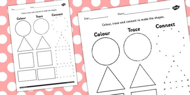 2D Shape Colour Trace and Join the Dots - 2d shape, colour, trace