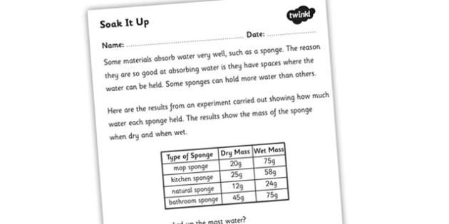Soak It Up Worksheet - absorbant materials, absorbant materials worksheet, materials that absorb water, sponges worksheet, materials, materials worksheet