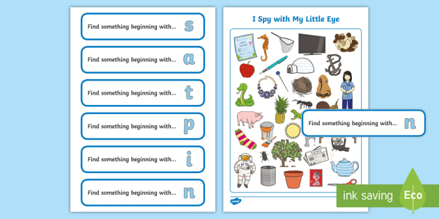 I Spy Initial Sounds Phase 2 Phonics s, a, t, p, i, n Activity