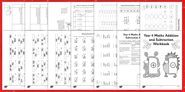 Christmas Themed Year 4 Maths Addition and Subtraction Workbook - christmas, maths, addition, subtraction, workbook, christmaths