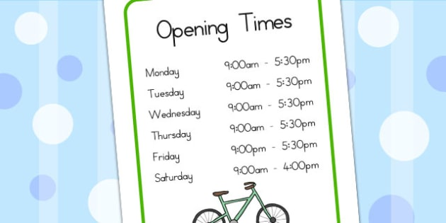 Bicycle Shop Opening Times - bicycle, bike, cycle, role play