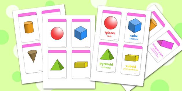3D Shape Cards Polish Translation - polish, 3d, shape, cards