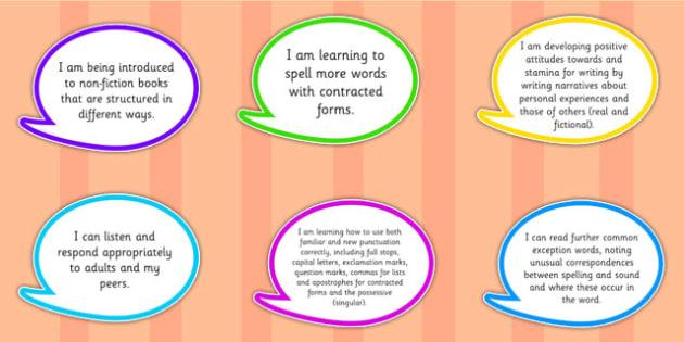 2014 Curriculum Year 2 English Assessment I Can Speech Bubbles