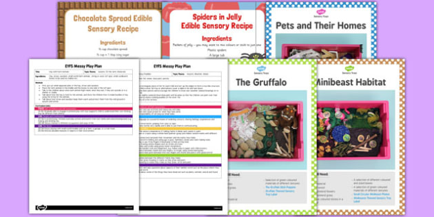Childminder Sensory Tray Ideas Pack - childminder, sensory tray, ideas, pack