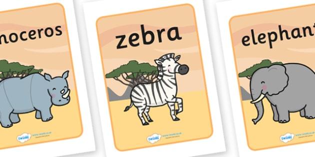 Safari Display Posters (Safari Background) - Safari, poster, display, vines, A4, display, lion, cheetah, puma, jaguar, rhino, hippo, elephant, giraffe, antelope