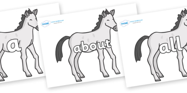 100 High Frequency Words on Ponies - High frequency words, hfw, DfES Letters and Sounds, Letters and Sounds, display words