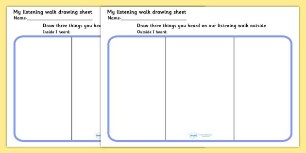 My Listening Walk Drawing Sheet - listening, sounds, outdoors