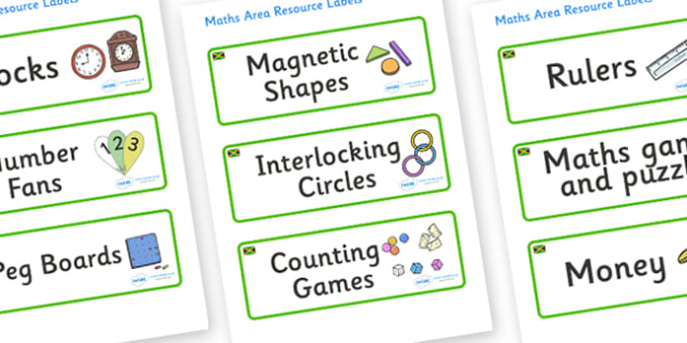 Jamaica Themed Editable Maths Area Resource Labels - Themed maths resource labels, maths area resources, Label template, Resource Label, Name Labels, Editable Labels, Drawer Labels, KS1 Labels, Foundation Labels, Foundation Stage Labels, Teaching Lab