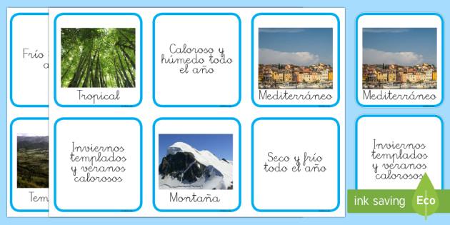 Los climas Tarjetas de emparejar - El tiempo y las estaciones del año, proyecto, clima, descripcion,Spanish