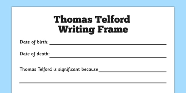 Scottish Significant Individuals Thomas Telford Writing Frame - scottish, significant individuals, thomas telford