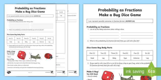 probability as fraction make a bug dice game activity. Black Bedroom Furniture Sets. Home Design Ideas