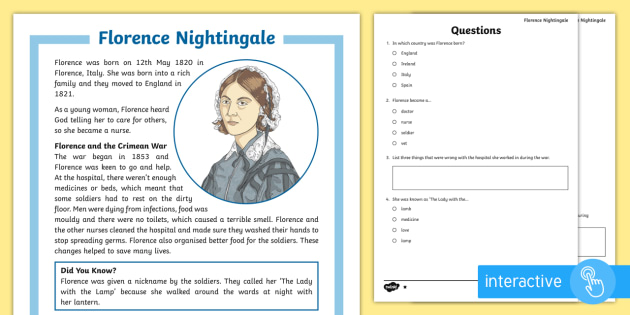 KS2 Florence Nightingale Differentiated Comprehension ...