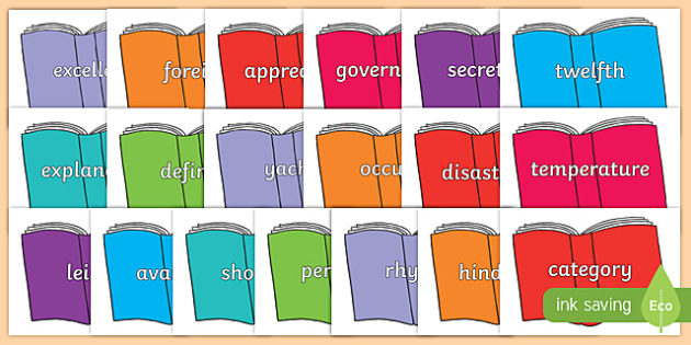 Year 5 and 6 Common Exception Words on Books - year 5, year 6, common exception words, books, display