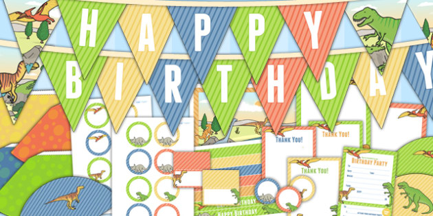 Dinosaur Themed Birthday Party Pack - dinosaurs, birthday, party