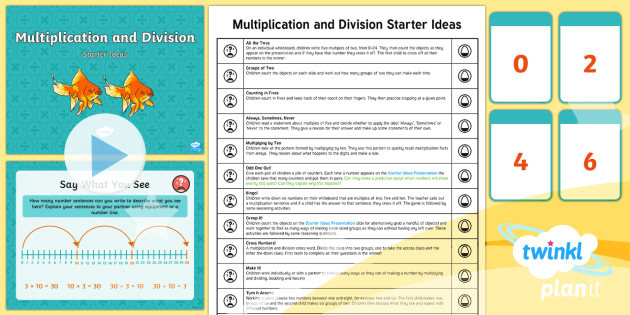 * NEW * PlanIt Maths Y2 Multiplication and Division Starter Ideas Pack - starter, mental and oral, M&O, presentation, powerpoint, maths, numeracy, ks1, year 2, y2, multiplic