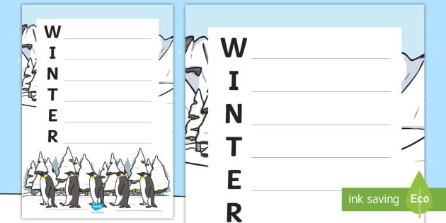 winter acrostic poem template winter winter acrostic poem