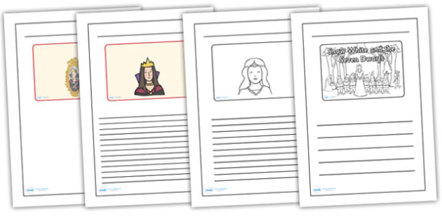 Snow White and the Seven Dwarves Black and White Lined Writing Frames - snow white colour and write, snow white writing frames, snow white writing template