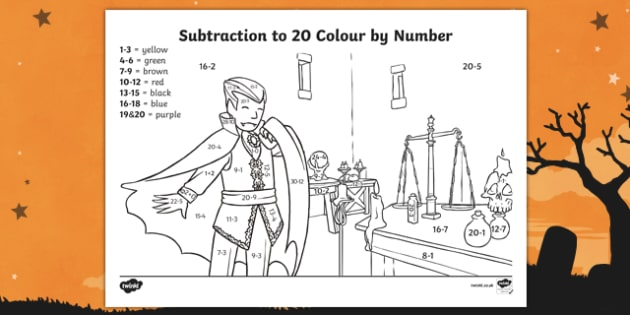 Halloween Themed Subtraction to 20 Colour by Number