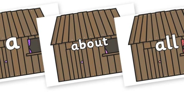 100 High Frequency Words on Wooden Houses - High frequency words, hfw, DfES Letters and Sounds, Letters and Sounds, display words