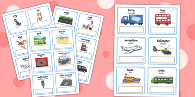 Everyday Objects Out and About Editable Cards with English Polish Translation