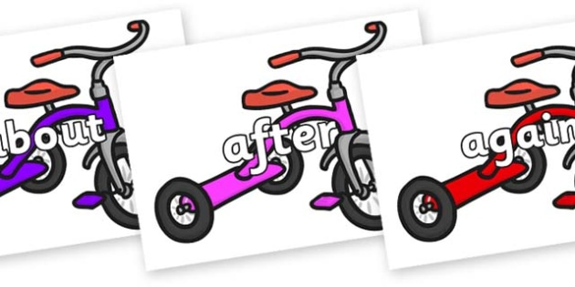 KS1 Keywords on Trikes - KS1, CLL, Communication language and literacy, Display, Key words, high frequency words, foundation stage literacy, DfES Letters and Sounds, Letters and Sounds, spelling
