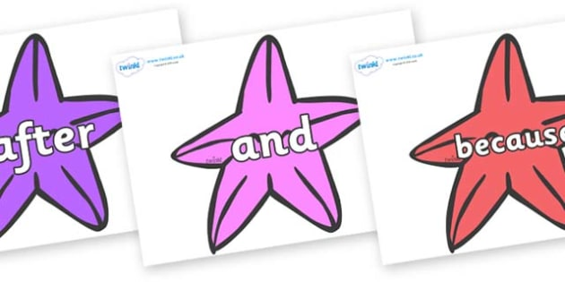 Connectives on Starfish to Support Teaching on The Rainbow Fish - Connectives, VCOP, connective resources, connectives display words, connective displays