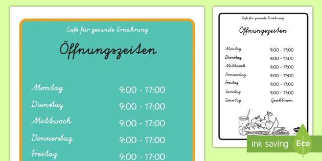 Café für gesunde Ernährung Öffnungszeiten - Rollenspiel