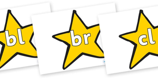 Initial Letter Blends on Stars (Plain) - Initial Letters, initial letter, letter blend, letter blends, consonant, consonants, digraph, trigraph, literacy, alphabet, letters, foundation stage literacy