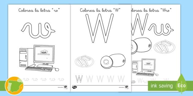 Hoja De Colorear La Letra W Primaria Lengua Lenguaje