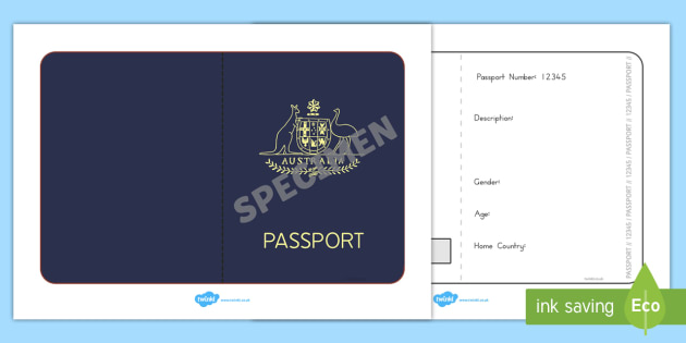 Australian Passport Template - passport, airline, australia