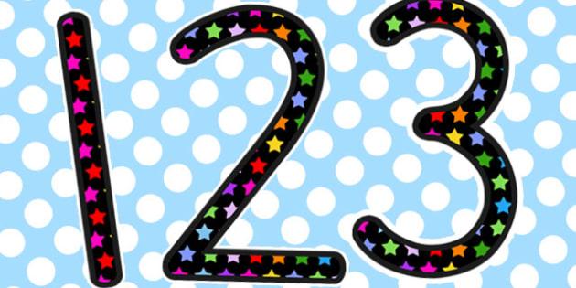 Multicoloured Star Themed Display Numbers - australia, display